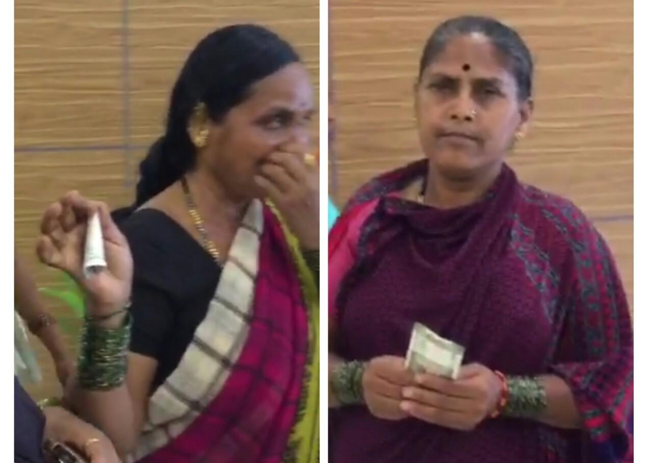 भाजप प्रदेशाध्यक्षांच्या सत्कार कार्यक्रमात गर्दीसाठी बोलविलेल्या महिलांना पैसे वाटप..!